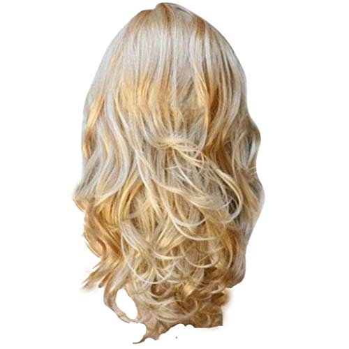 Perruque Femme, Perruques Blondes Ondulés Bouclés Longs Fibre Résistante à la Chaleur Costume Party Perruques pour Femmes, Perruque Cheveux Humain