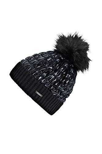 PIKEUR Mütze gesteppt mit Bommel CLASSIC Collection Herbst-Winter 2019/2020, black, 55/57