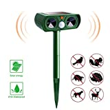 Ultrasonic Solar Animal Repeller, Dog Cat Repeller with Motion Sensor and Flashing Lights Outdoor Solar Powered Waterproof Farm Garden Yard Repellent, Cats, Dogs, Foxes, Birds, Skunks, Rod