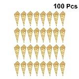 Healifty 100Pcs Cônes en Papier Kraft Confettis de Mariage Cônes Bouquet Pétales Sacs de Bonbons Boîtes Support de Fleurs pour Buffet de Bonbons (Note de Musique)