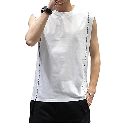Camisa Sin Mangas Hombre Moderno Urbano Básico Cuello Redondo Hombre Camiseta Verano Empalme Letras Estampado Sin Mangas Shirt Aire Libre Casual Cómodo Transpirable Tank Top G-White2 M