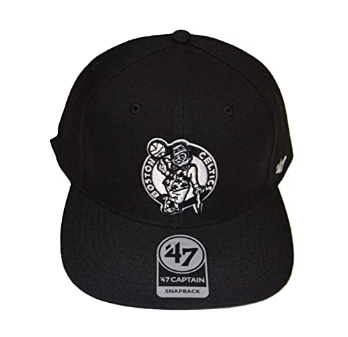 '47 Boston Celtics Black Sure Shot Captain Adjustable Snapback Cap - NBA, Flat Bill Baseball Hat