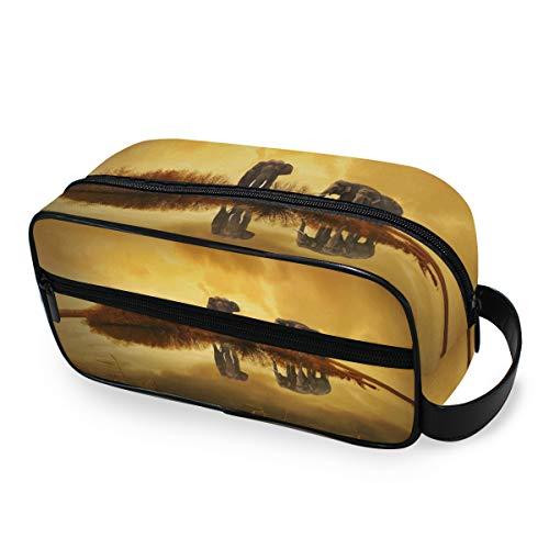 Stockage Nature Sunset Elephant Ladies Tools Cosmetic Train Case Trousse de toilette Travel Makeup Bag Portable