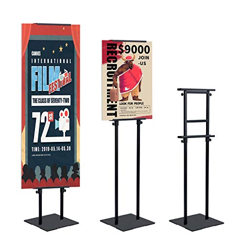 AkTop Heavy Duty Floor Standing Sign Holder with Non-Slip Mat Base, Adjustable Banner Stand Height Up to 82.6 inch, Double-Sided Pedestal Poster Stand for Indoor Outdoor Display