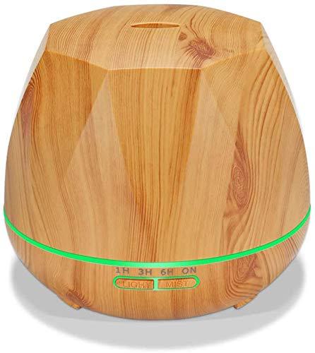 Gaojian 550ml Essential Oil Aroma Diffuser Wireless Remote Control Wood Diamond Shape Ultrasonic Air Humidifier