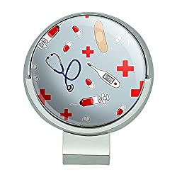 GRAPHICS & MORE Nurse Doctor Pattern Healthcare Stethoscope Thermometer Golf Hat Clip with Magnetic Ball Marker