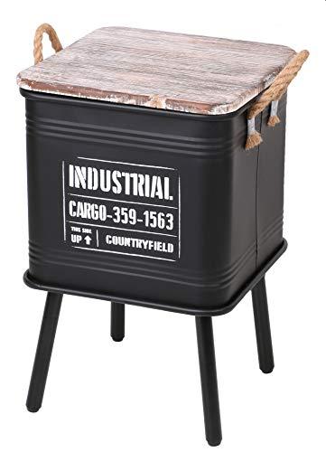 Urban living Cargo Boîte de Rangement Ronde en métal galvanisé avec Couvercle en Bois