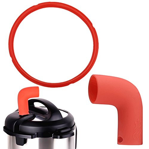 Pressure Cooker Steam Pipe Valve Release Accessory with Silicone Sealing Ring 5 qt 6 Quart for Instant DUO60 & DUO50 and Smart Model Seal Insta Pot Accessories Set - Red