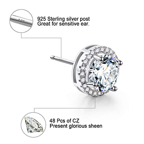 18K Platinum-Plated Cluster Round Cut Stud Earrings (1.66cttw)