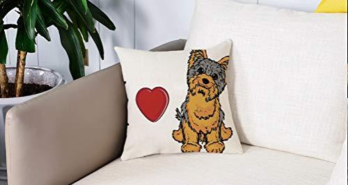 Pillowcase,Cuscini da Letto,Yorkie, I Love Yorkshire Terrier Simpatico cane sorridente Animale Testa inclinata Stampa amore Cuscini Per Copricuscini Divano Caso Federa Home Decorativi 45x45 Cm