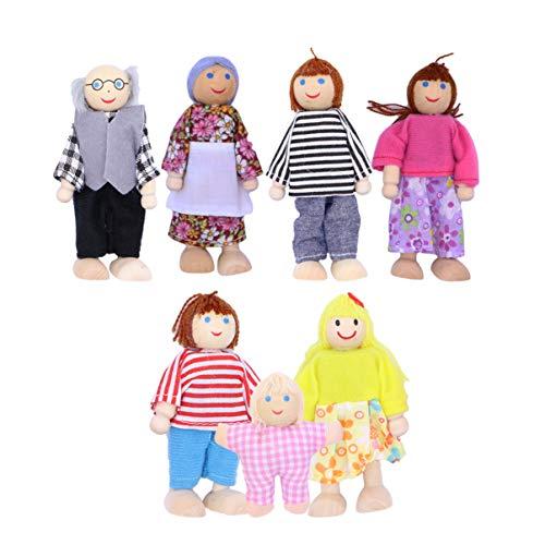 Toddmomy 7 Pezzi Casa delle Bambole in Legno Famiglia Vestire Personaggi Gioco di Ruolo Familiare Vestire Personaggi Nonno Nonna Mamma papà Bambini Baby Family