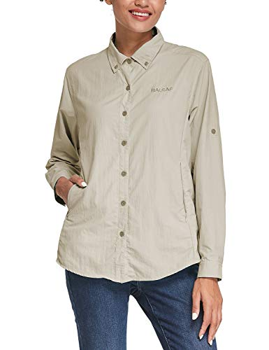 BALEAF Women's Hiking Shirts UPF 50 Quick Dry Zip Pockets Long Sleeve Camping Fishing Travelling Khaki M