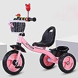 HJFGIRL Triciclos Bebes 1 Año Bici 3 en 1 Plegable Bicicletas Estaticas BH con Rueda Inflable de Espuma EVA Puede Soportar 35kg Adaptar a Parques, Caminos de Grava, Playas, Viajes,Pink