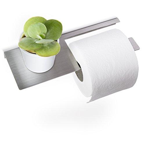 Toilettenpapierhalter - Klopapierhalter mit Ablage mit Befestigungsmaterial - gebürsteter Edelstahl - A.02.E