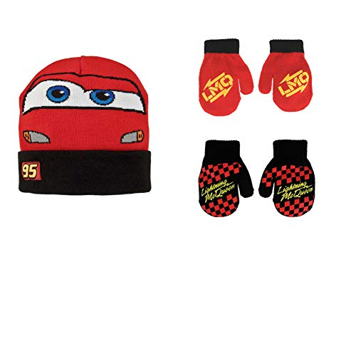 Disney Cars Lightning McQueen Winter Hat 2 Pair Mittens or Gloves (Toddler/Little Boys), Reversible Hat Mittens 2-4