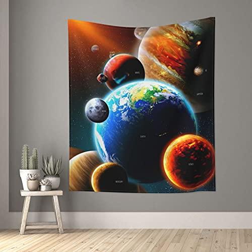 Tapiz para el espacio exterior Galaxy Tierra, tapices pequeños de pared para dormitorio, sala de estar, ventana, decoración estética, divisor de habitación, 152,4 x 129,5 cm