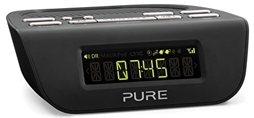 Pure Siesta Mi Series 2 DAB FM Digital Radio Alarm Clock - DAB Radio with LCD Display with Auto-Brightness, Sleep and Snooze Timers with Volume Fade and 16 Pre-Set Favourites - Black, Graphite