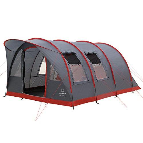 Familienzelt Justcamp Atlanta 5, Tunnelzelt für 5 Personen mit Vordach, Eingenähter Boden - grau, Kuppelzelt