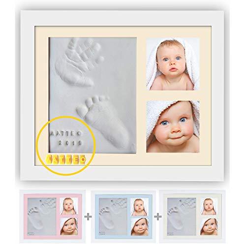 Baby Handabdruck und Fußabdruck | Set für Neugeborene Mädchen Jungen | Personalisiertes Baby Geschenk | Wanddekoration für Kinderzimmer | Kit Letters Numbers und 4 Farbige Rahmen