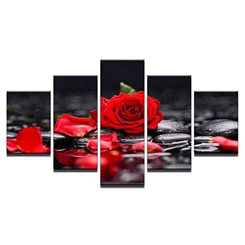 SXRE Cuadro Moderno en Lienzo Rosa Roja Floral Gris Lienzo Arte De La Pared Imágenes Impresiones, 5 Paneles Ilustraciones del Día De San Valentín Pinturas Modernas Decoración del Hogar
