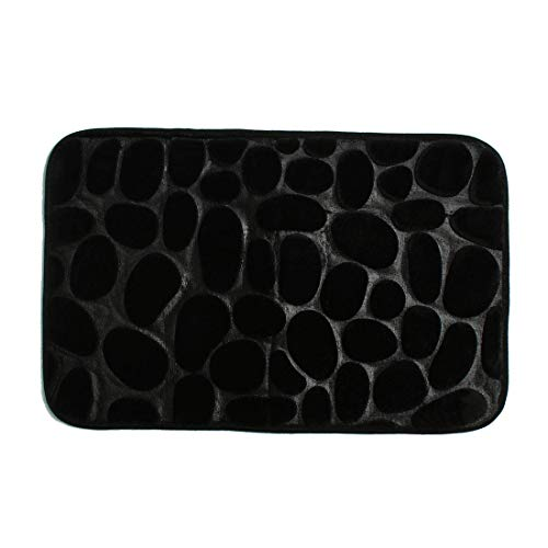 YeVhear Alfombra de baño de franela de tela de espuma con memoria de forma, lavable, antideslizante, para cuarto de baño, cocina, zapatero, color negro