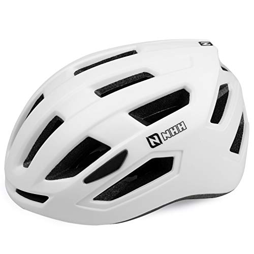 NHH Adult Bike Helmet  CPSCCompliant Bicycle Cycling Helmet Lightweight Breathable and Adjustable Helmet for Men and Women Commuters and Road Cycling Matte White