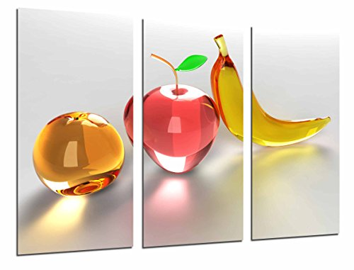 Poster Fotográfico Composicion Frutas Platano, Manzana, Naranja de Cristal Tamaño total: 97 x 62 cm XXL