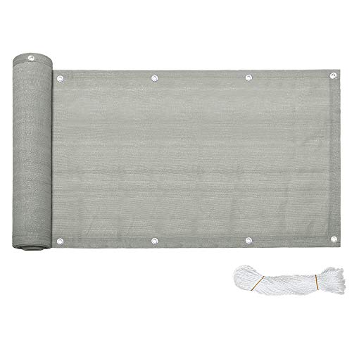 HENGMEI Balkon Sichtschutz Balkonbespannung Balkonverkleidung, Balkonsichtschutz Windschutz UV-Schutz aus HDPE (Grau,90x600cm)
