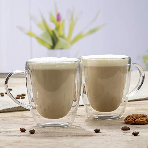Novaliv 2 bicchieri da cappuccino I 270 ml I vetro borosilicato a doppia parete I lavabili in lavastoviglie e adatti al forno a microonde, tazze da caffè
