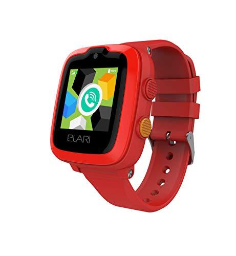 4G Reloj Inteligente Niño y Niña GPS Localizador y Llamadas Bidireccionales Audio y Video, Chat de Voz, Botón SOS, Impermeable, Cámara, MP3 Musica, Juegos - ELARI KidPhone 4G (Rojo)