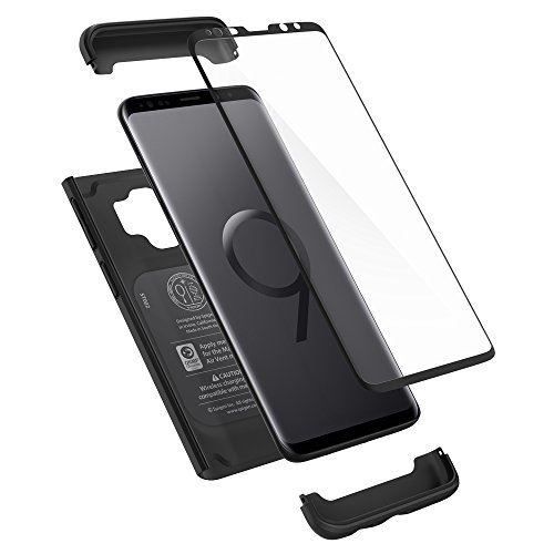Spigen Thin Fit 360 Cover Galaxy S9, Caso Protezione esatta Slim Full Screen Protector Vetro temperato per Samsung Galaxy S9 (2018), Nero