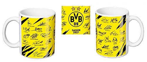 Borussia Dortmund BVB Tasse/Kaffeebecher Unterschriften Team 20/21 Heimtrikot Autogramme