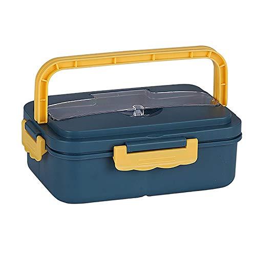 Fiambrera, Leakproof Bento Box, contenedores de Alimentos con 3 Compartimentos y Cubiertos, la Caja del Almuerzo para los niños Adultos para el Trabajo Escolar y, Apto para microondas y lavavajillas