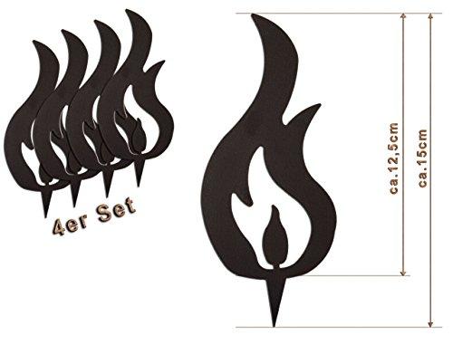 Edelrost Deko-Flamme 4er Set (Zwei Spitzen) Größe M/ 15cm: Wunderschöner Deko-Artikel für Ihre Wohnung - Weihnachts-Deko von Manufakt-Design