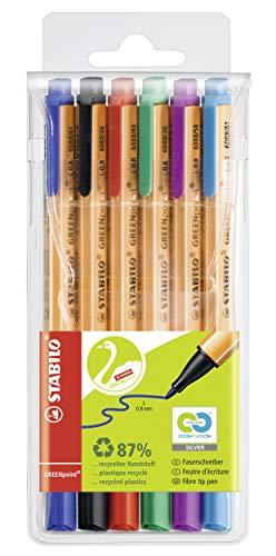 Umweltfreundlicher Filzschreiber - STABILO GREENpoint - 6er Pack - mit 6 verschiedenen Farben