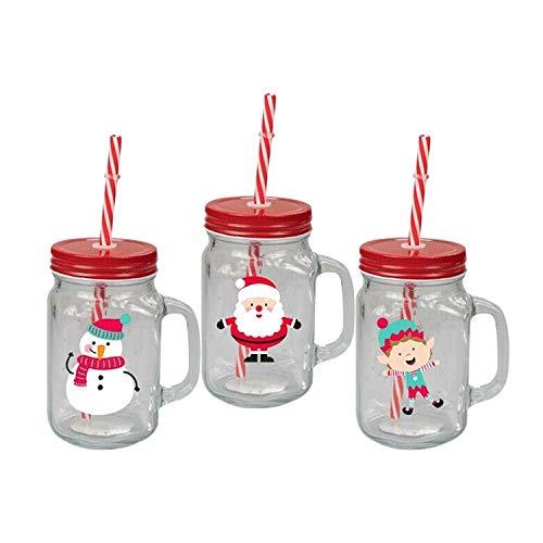 Invero 3X Set di Natale Renna Babbo e Pupazzo di neve design Bicchiere Jar tazze con manico vite Top peltro coperchio e paglia