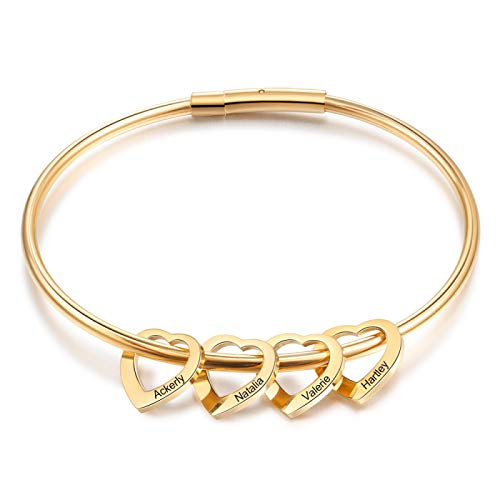 Jewellery Bracelets Bangle For Men Gold-Color Stainless Steel Personalized Bracelets With Hearts Customized Engraved 2-6 Names Bracelets & Bangles For Women Gift 4Hearts