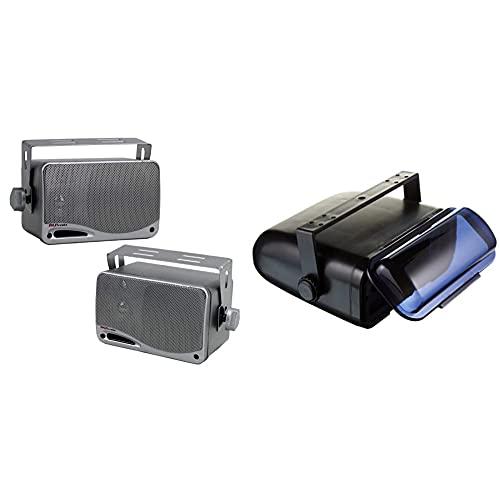 "3-Way Waterproof Marine Box Speakers - 3.5"" 200 Watt Dual Indoor Outdoor Speaker System - Pyle PLMR24S (Silver) & Durable Universal Marine Stereo Cover - Pyle PLMRCB3, Black"