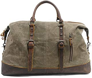 JVSISM Vintage Waxed Canvas Men Travel Duffel Large Capacity Oiled Leather Weekend Bag Basic Holdall Tote Overnight Bags Khaki