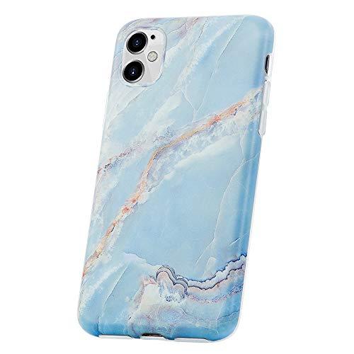 QULT Handyhülle kompatibel mit iPhone 11 Hülle Marmor Blau dünn Silikon Schutzhülle TPU Bumper Case für iPhone 11 Matt Marble Blue