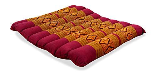 livasia Asia WOHNSTUDIO SITZKISSEN, Kapok Sitzkissen 35x35x4cm, optimal als Stuhlauflage oder Meditationskissen, Bodenkissen BZW. Stuhlkissen