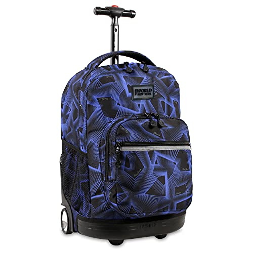 J World New York Sunrise Rolling Backpack. Roller Bag with Wheels, Disco, 18'