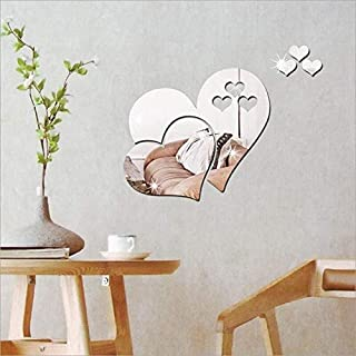 Heart-shaped 3D Mirror Wall Sticker Home Decor Decorations DIY Removable Living-Room Decal Art Ornaments For Home (Silver)