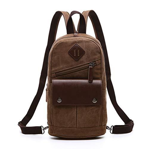 JKHOIUH Vintage Men/Women Backpack Daypack Waterproof Zipper Canvas Dual Purpose Chest Bag Outdoor Travel Backpack (Color : Khaki)