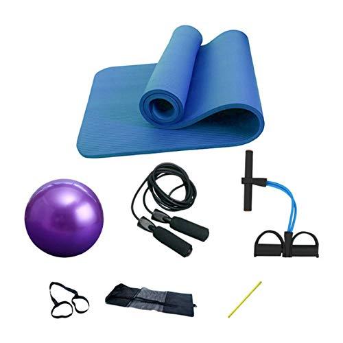 Esterilla de yoga de 4 piezas para el hogar, apto para interiores y exteriores, alfombrillas de fitness (tamaño: 183 x 61 x 1 cm, color: azul)