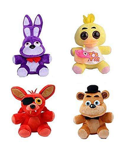 "HeyFun 4pcs Plush 5"" Dolls Soft Toys Five Nights at Freddy"