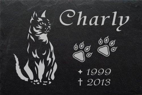 """Schiefertafel mit wetterfester Lasergravur des Motives """"Katze-003"""" und Ihrem Text/Daten in der gewünschten Schriftart z.B. als Tiergrabplatte auf das Grab oder als Tiergedenkentafel für Zuhause von LaserArt24"""