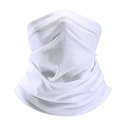 SAITAG Sun Dust Protection Neck Gaiter Breathable Elastic Face Scarf Mask for Hot Summer Cycling Hiking Fishing White