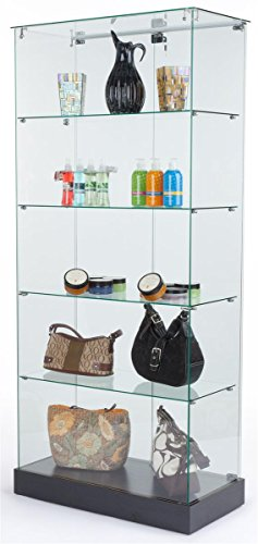 Tempered Glass Frameless Design Display Case with 4 Shelves and Black Laminate Base, 31 x 71 x 15-3/4-Inch