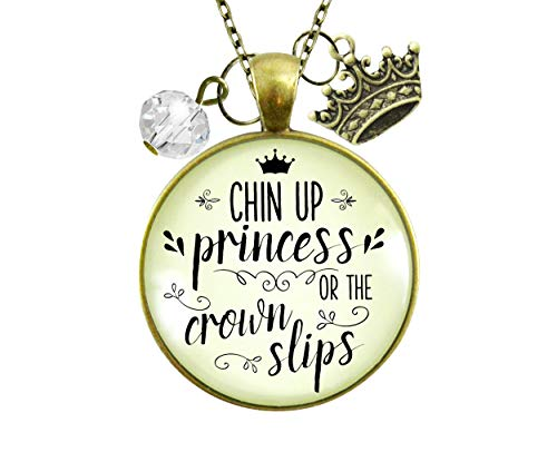 Gutsy Goodness 24' Chin Up Princess Necklace Quote Jewelry Crown Slips Inspired Life Warrior Gift